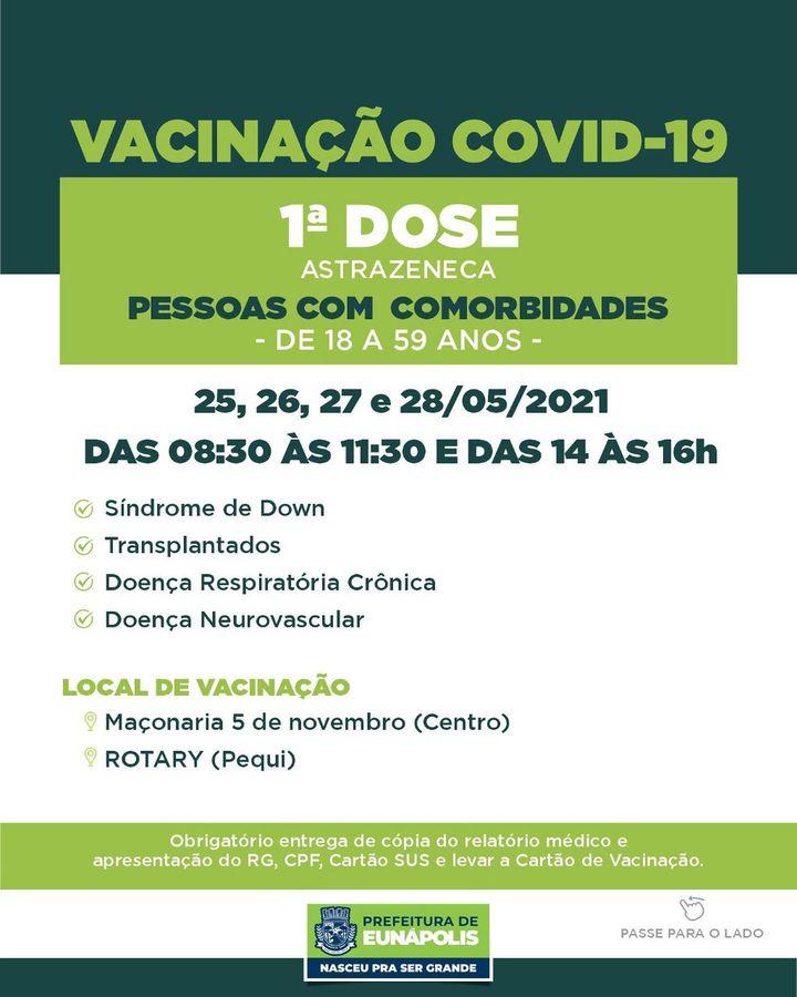 EUNÁPOLIS: Confira grupos para vacinação Covid-19 de 25 a 28/5 24