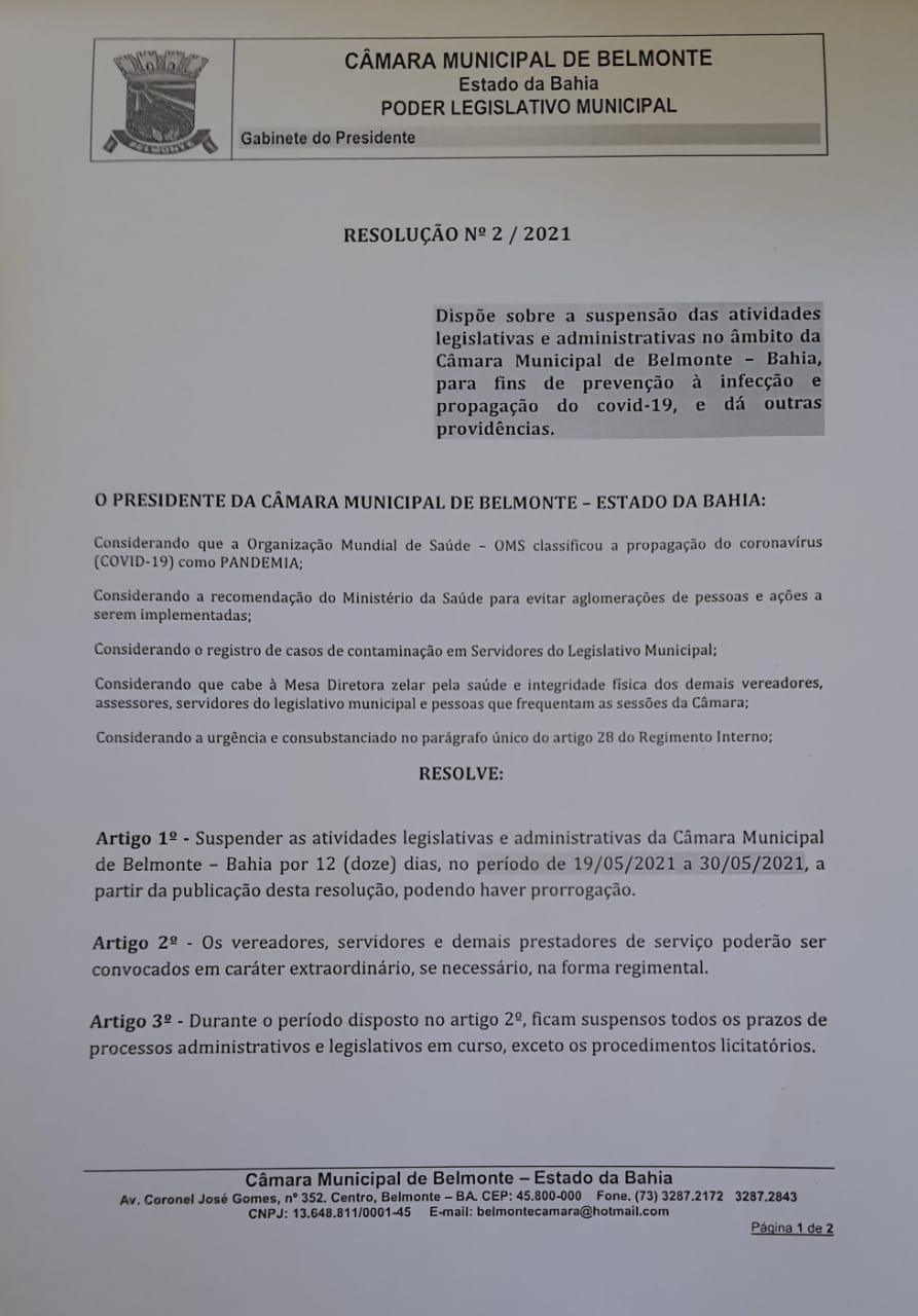 Câmara de Belmonte paralisa atividades até 30 de maio por infecções por covid 21