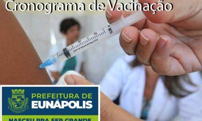 Secretaria de Saúde de Eunápolis informa o cronograma da semana de vacinação contra à Covid-19 52