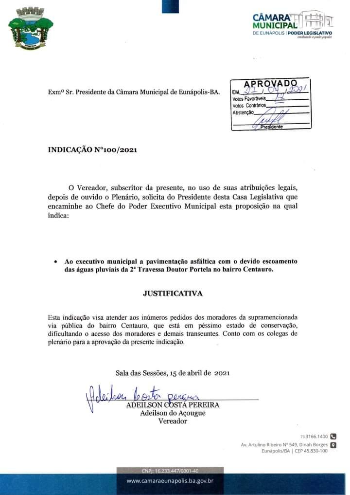 Eunápolis: Vereador Adeilson do Açougue faz indicação para a 2ª Travessa Doutor Portela 18