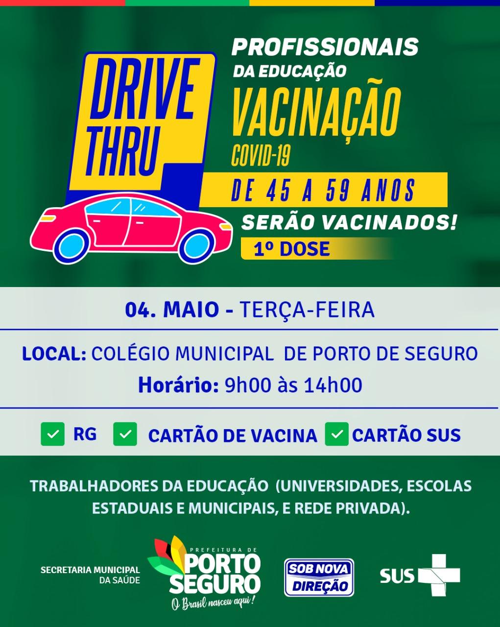 Vacinação contra a COVID-19 Profissionais da Educação Rede pública e privada da Terra Mãe do Brasil 45 a 59 anos 18