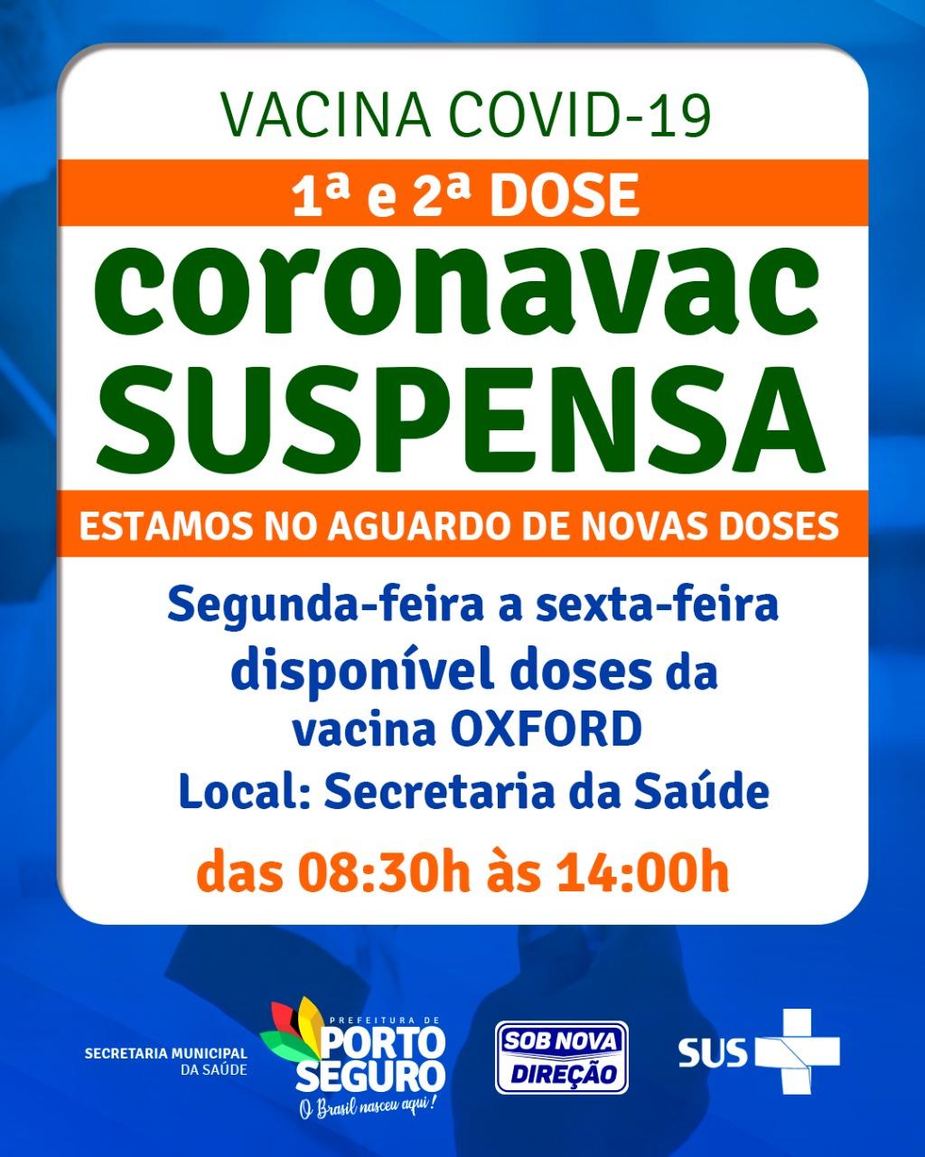 FALTA DE CORONAVAC PARA SEGUNDA DOSE ATINGE PORTO SEGURO 18