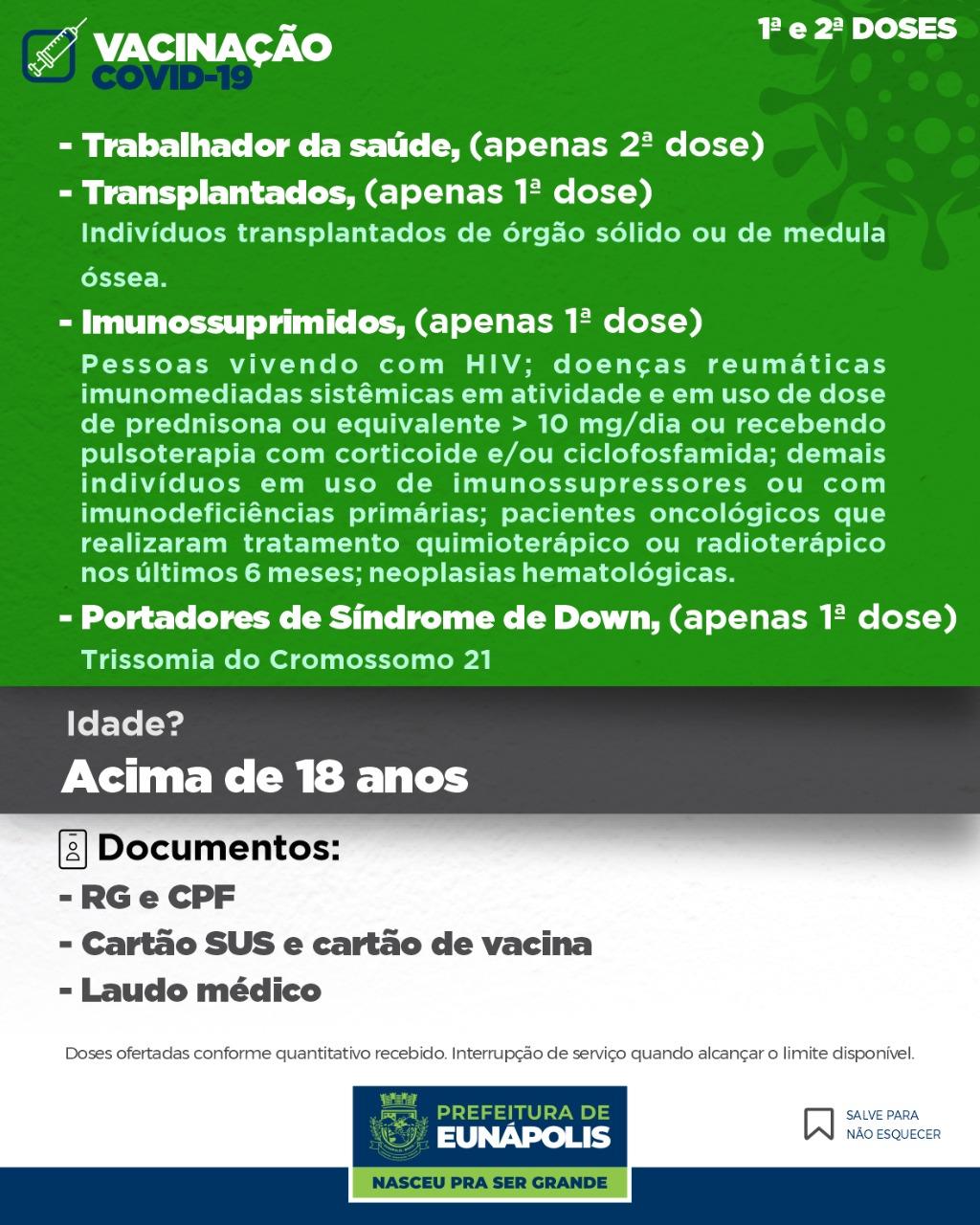 Eunápolis inicia imunização contra a Covid-19 em pessoas com Síndrome de Down, Transplantados e Imunossuprimidos 21
