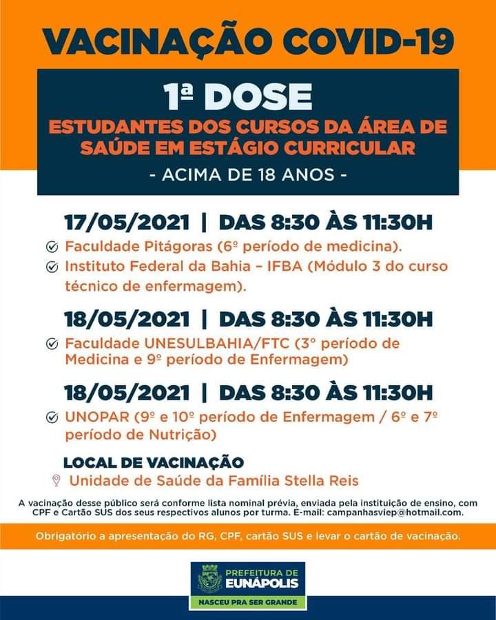 Eunápolis: Vacina contra Covid-19 (1ª dose comorbidades / dia 17 de maio) 35