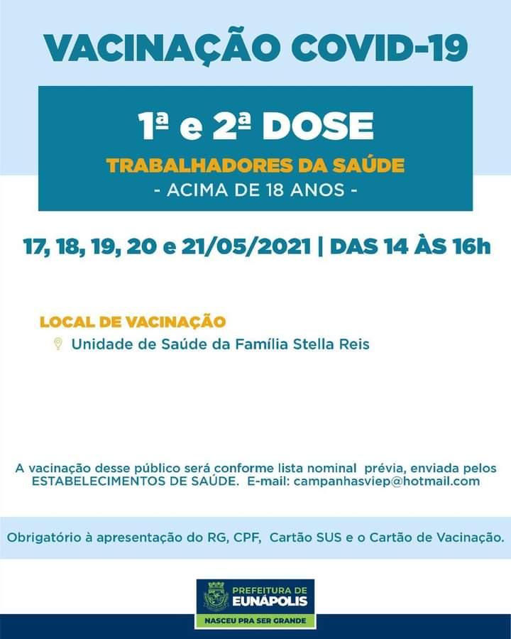 Eunápolis: Vacina contra Covid-19 (1ª dose comorbidades / dia 17 de maio) 39