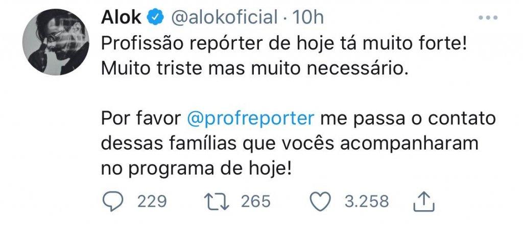 Alok pretende ajudar as famílias carentes mostradas em reportagem. 21