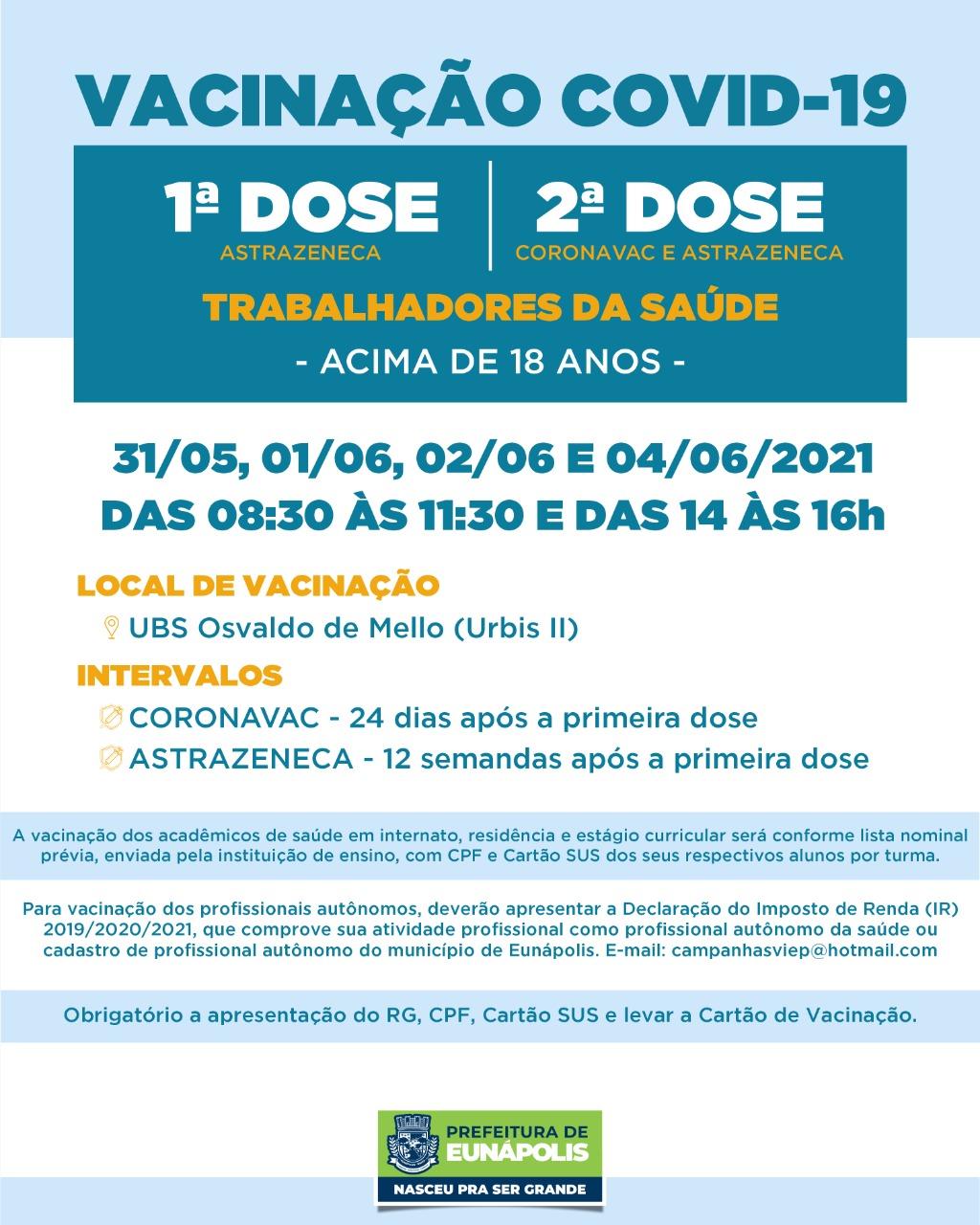 Secretaria de Saúde de Eunápolis informa o cronograma da semana de vacinação contra à Covid-19 39