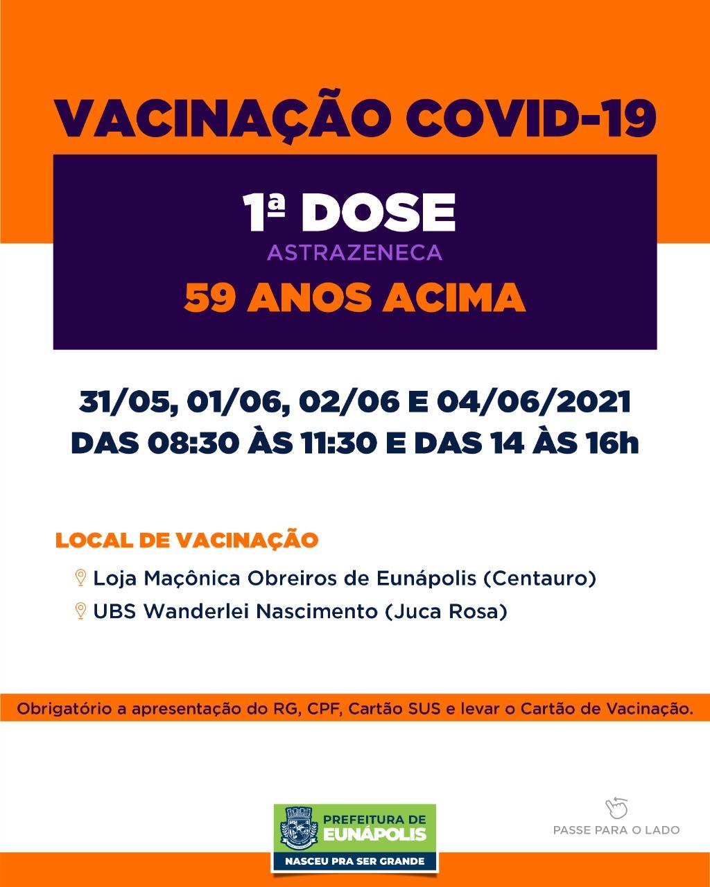 Secretaria de Saúde de Eunápolis informa o cronograma da semana de vacinação contra à Covid-19 36