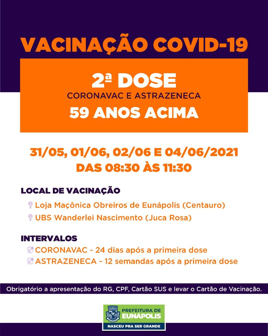 Secretaria de Saúde de Eunápolis informa o cronograma da semana de vacinação contra à Covid-19 37