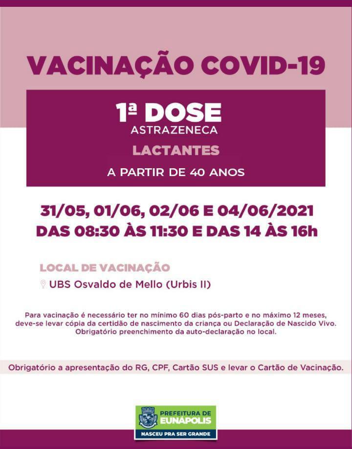 Secretaria de Saúde de Eunápolis informa o cronograma da semana de vacinação contra à Covid-19 32