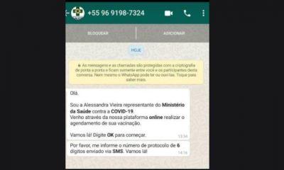 Golpistas usam Ministério da Saúde para fazer clonagem de Whatsapp ate Médica Raíssa Soares cai no golpe 21