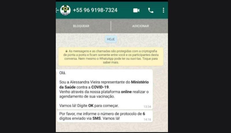 Golpistas usam Ministério da Saúde para fazer clonagem de Whatsapp ate Médica Raíssa Soares cai no golpe 18