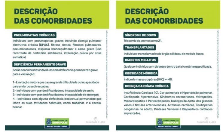 EUNÁPOLIS: Vacina Covid-19 1ª dose, comorbidades 21