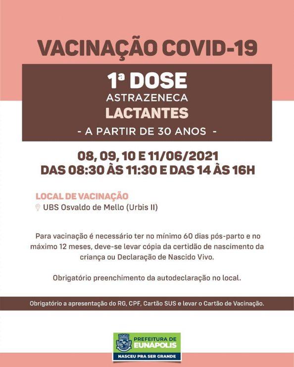 Eunápolis: Secretaria de Saúde informa o cronograma da semana de vacinação contra à Covid-19 36