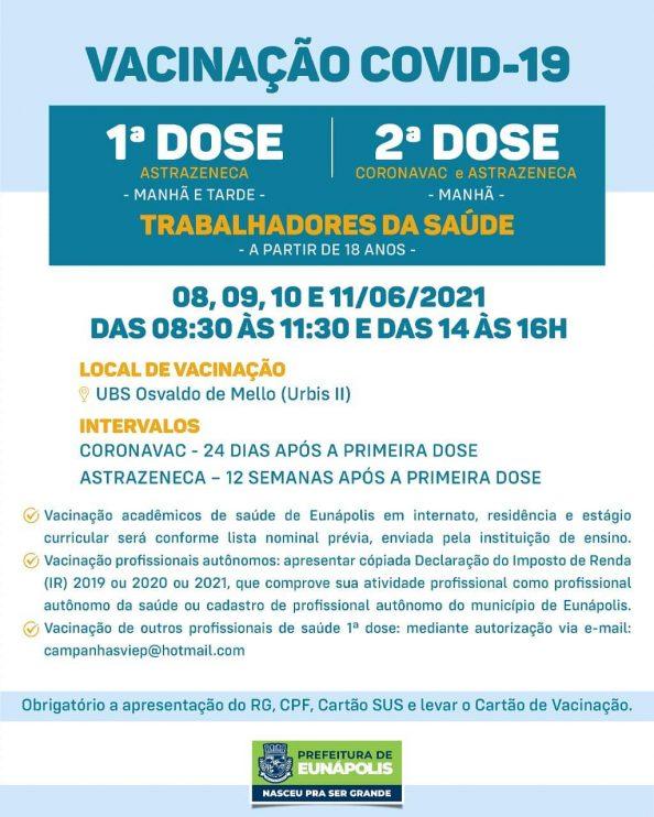 Eunápolis: Secretaria de Saúde informa o cronograma da semana de vacinação contra à Covid-19 38