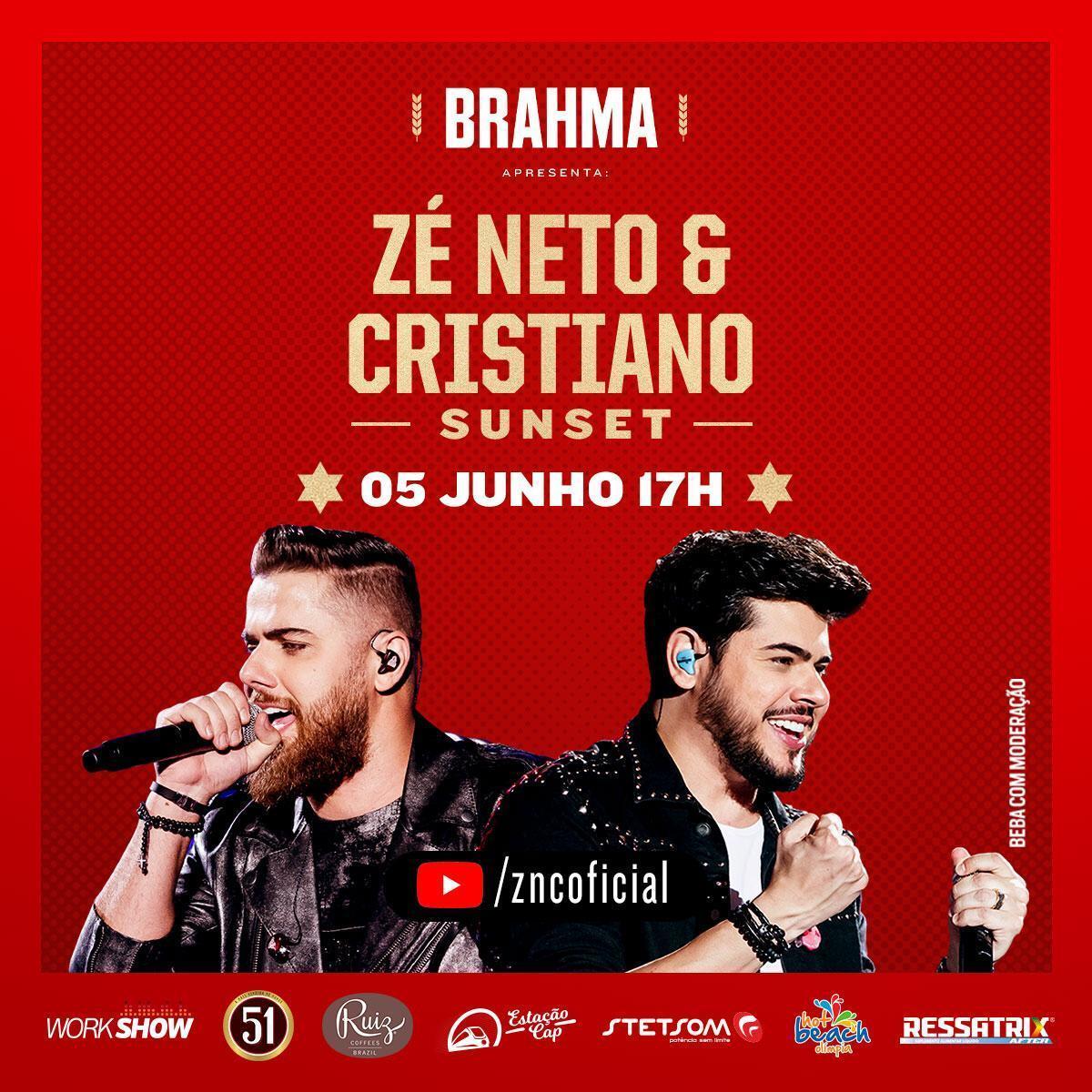 Zé Neto & Cristiano apresentam show virtual neste sábado (05) 18