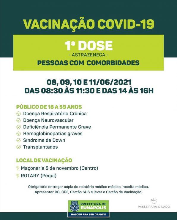 Eunápolis: Secretaria de Saúde informa o cronograma da semana de vacinação contra à Covid-19 40