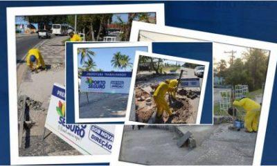 Porto Seguro: Prefeitura realiza recuperação da rampa de acessibilidade no Trevo do Cabral, manutenção de vias na Orla Norte e drenagem no Bairro Fontana 97