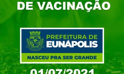 Eunápolis: Cronograma de vacinação contra à Covid-19 – 01/07/2021 16