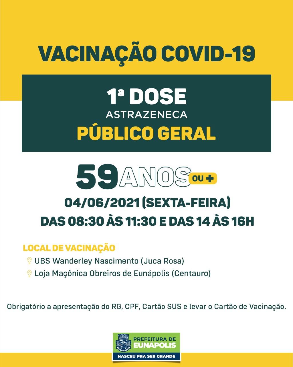 Eunápolis: Confira cronograma de vacinação Covid-19 30