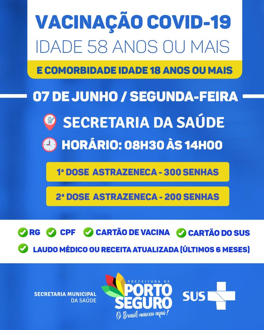 PORTO SEGURO: Vacinação contra Covid-19 18