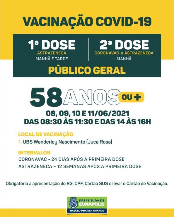 Eunápolis: Secretaria de Saúde informa o cronograma da semana de vacinação contra à Covid-19 41