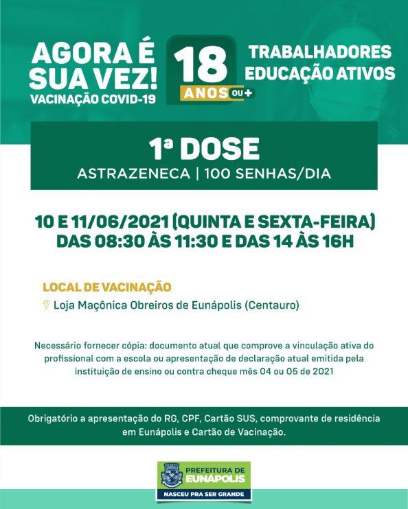 EUNÁPOLIS: Vacina Covid-19 para profissionais da educação a partir de 18 anos 18