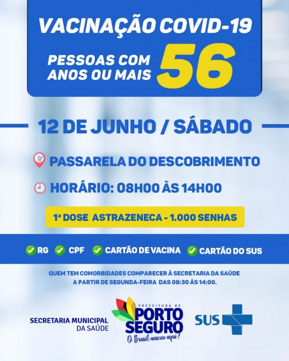VACINAÇÃO CONTRA A COVID-19 - 56 anos - Terra Mãe do Brasil Vacinada 23
