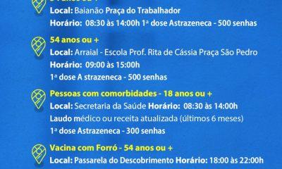 Porto Seguro: Segunda é dia de vacinação conta a Covid-19, 54 anos ou mais 42