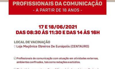 Profissionais da imprensa serão vacinados em Eunápolis contra a covid 36