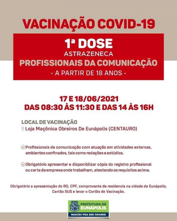 Profissionais da imprensa serão vacinados em Eunápolis contra a covid 18