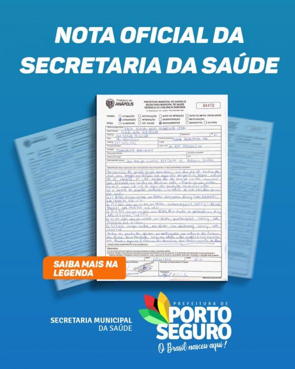 PORTO SEGURO: NOTA OFICIAL DA SECRETARIA DA SAÚDE 18