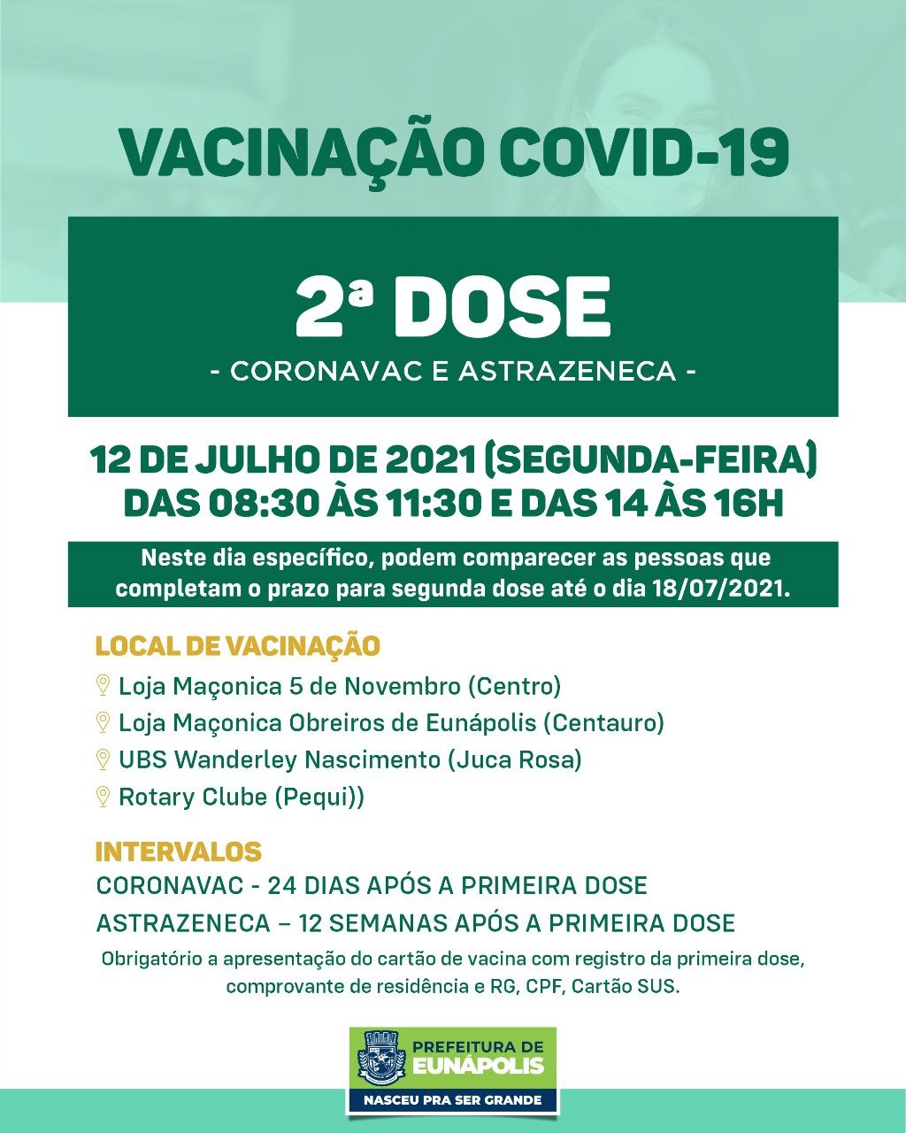 Eunápolis aplica 2ª dose das vacinas Coronavac e Astrazeneca nesta segunda-feira 18