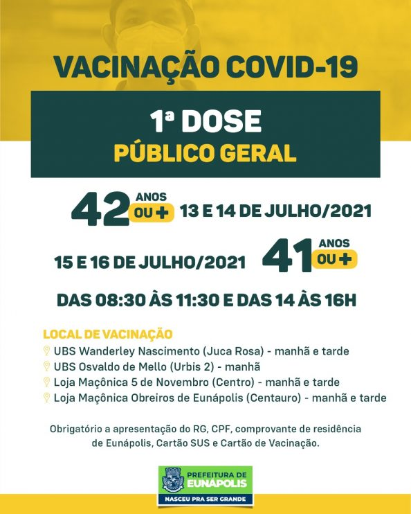 Eunápolis: Cronograma de vacinação contra à Covid-19 – 13 a 16 de Julho/2021 24