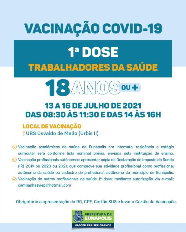 Eunápolis: Cronograma de vacinação contra à Covid-19 – 13 a 16 de Julho/2021 25