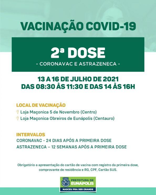 Eunápolis: Cronograma de vacinação contra à Covid-19 – 13 a 16 de Julho/2021 26
