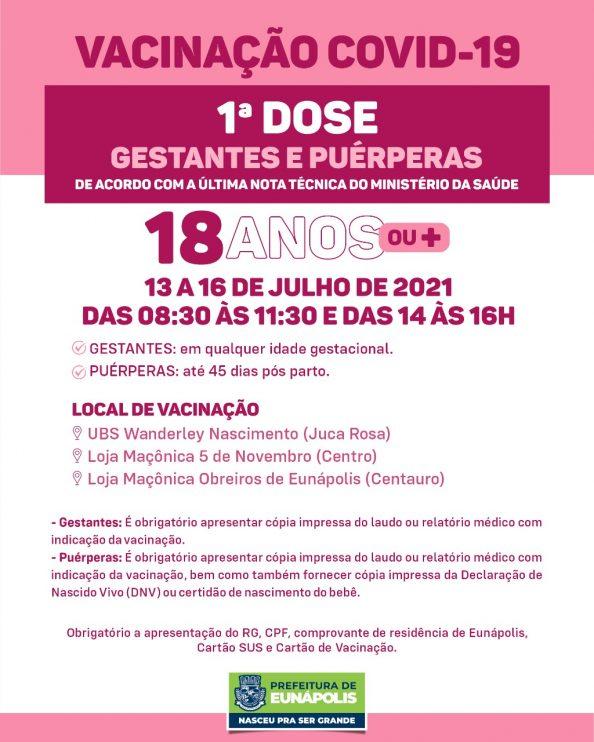 Eunápolis: Cronograma de vacinação contra à Covid-19 – 13 a 16 de Julho/2021 27