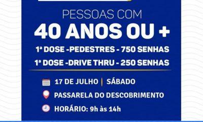 Neste Sábado Vacina Contra Covid-19 para pedestres e sistema Drive Thru em Porto Seguro 16