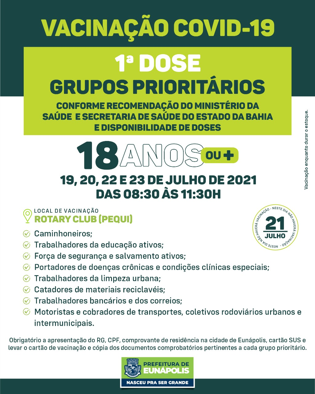 Eunápolis: Cronograma de vacinação contra à Covid-19/ 19 a 23 de Julho/2021 27