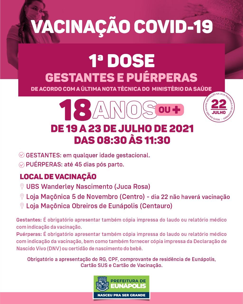 Eunápolis: Cronograma de vacinação contra à Covid-19/ 19 a 23 de Julho/2021 28