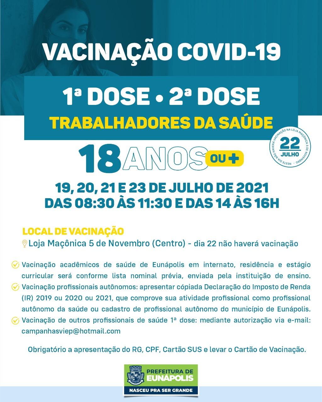 Eunápolis: Cronograma de vacinação contra à Covid-19/ 19 a 23 de Julho/2021 29