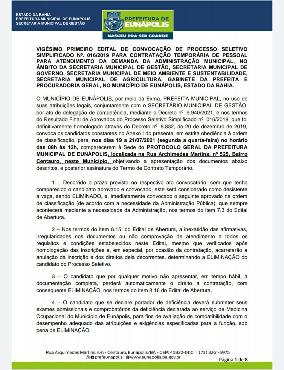 Prefeitura de Eunápolis convoca aprovados em processos seletivos 23