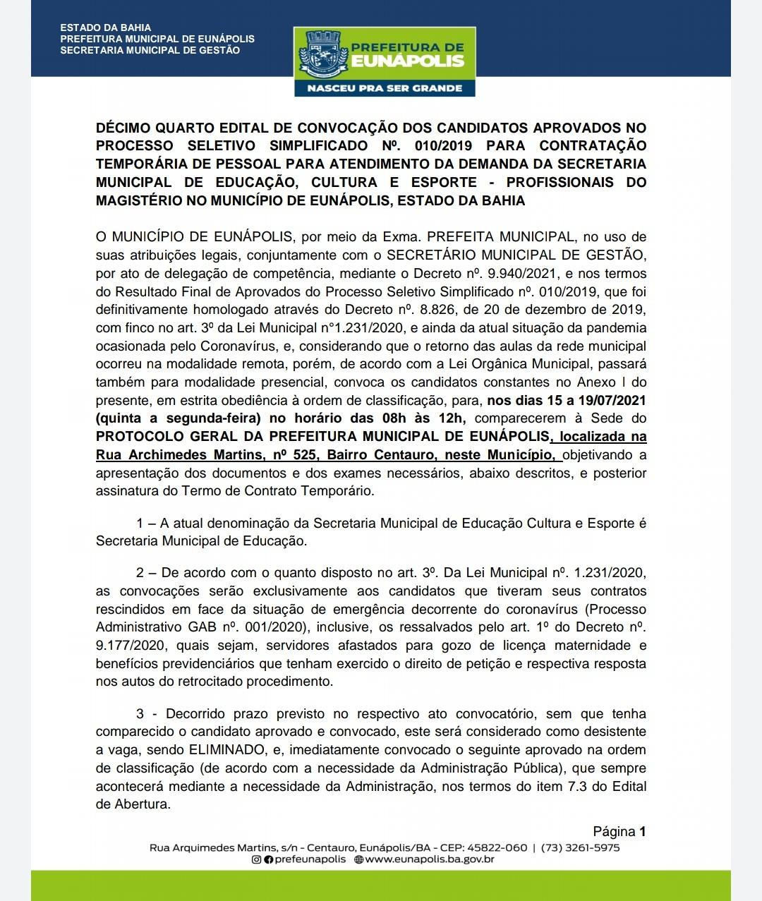 Prefeitura de Eunápolis convoca aprovados em processos seletivos 24