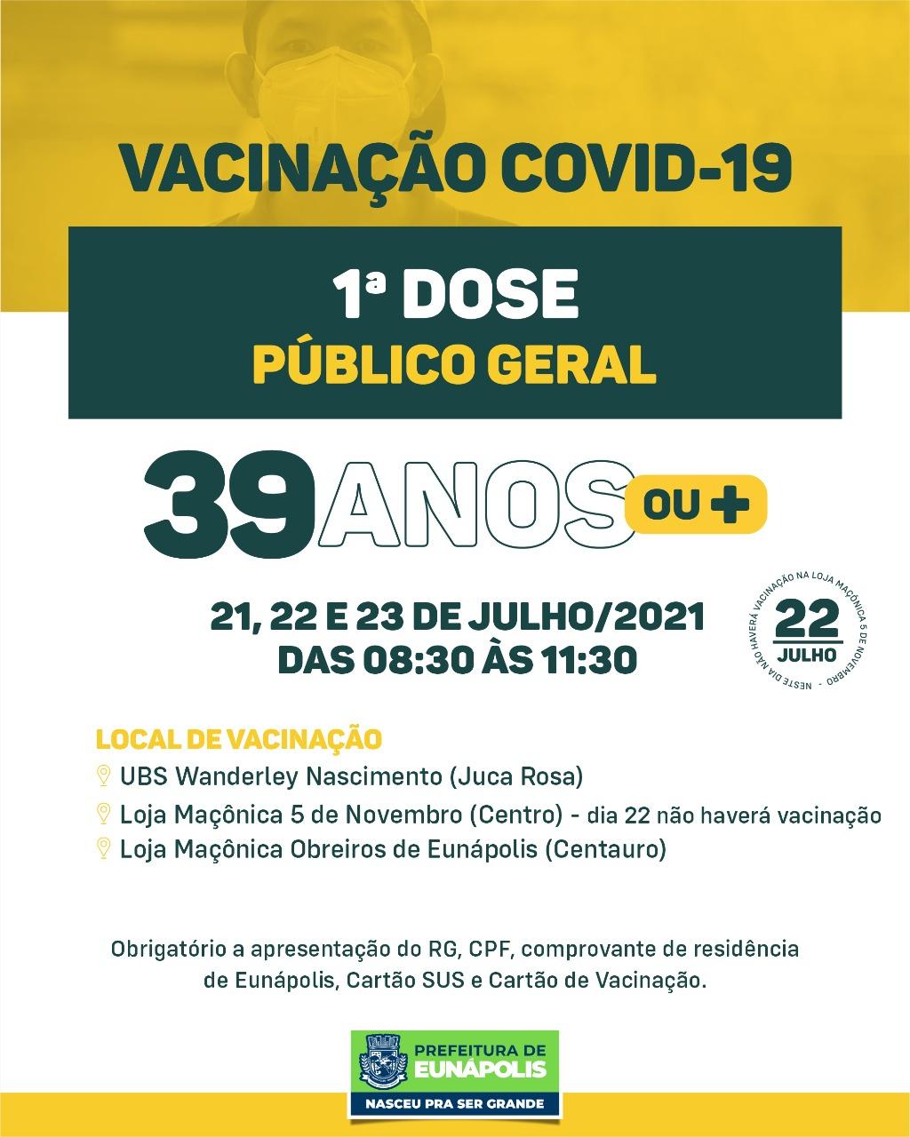 Eunápolis: Cronograma de vacinação contra à Covid-19/ 19 a 23 de Julho/2021 26