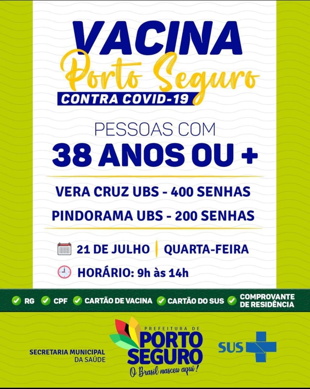 Vacina Porto Seguro contra Covid-19; cronograma de vacinação de 21 a 22 de julho 22