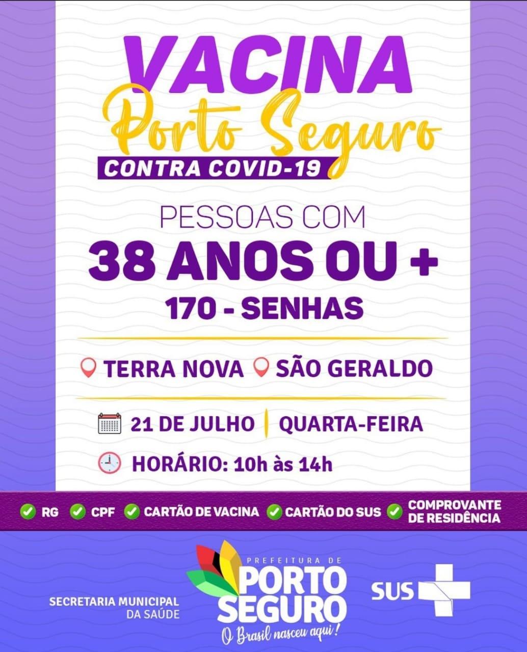 Vacina Porto Seguro contra Covid-19; cronograma de vacinação de 21 a 22 de julho 23