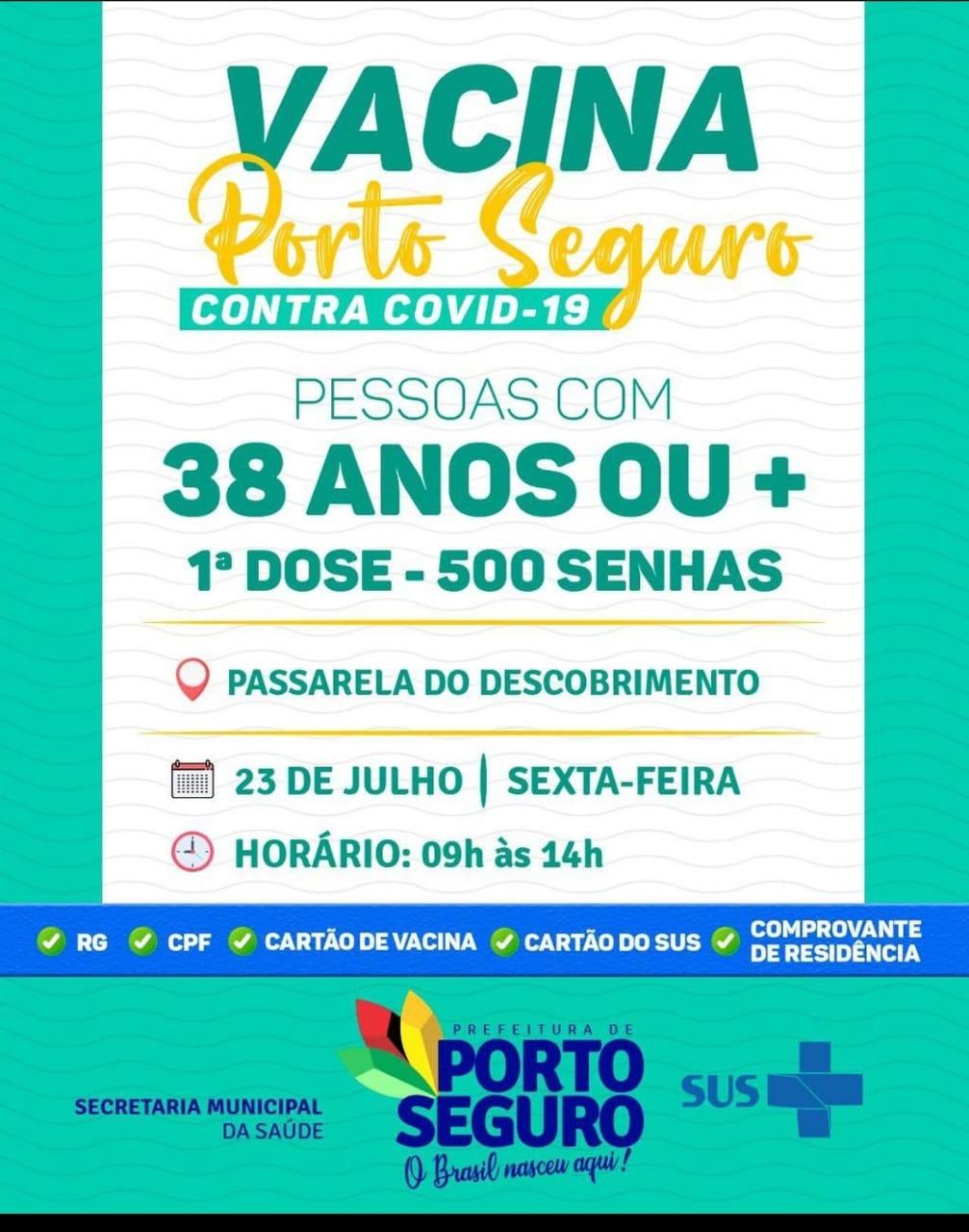 Vacina Porto Seguro contra Covid-19; cronograma de vacinação de 23 a 24 de julho 26