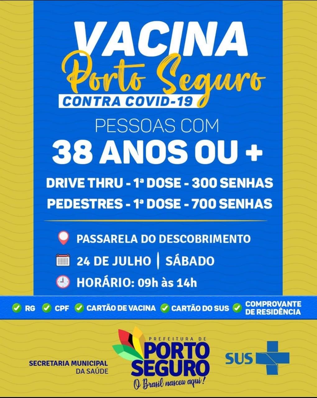 Vacina Porto Seguro contra Covid-19; cronograma de vacinação de 23 a 24 de julho 29