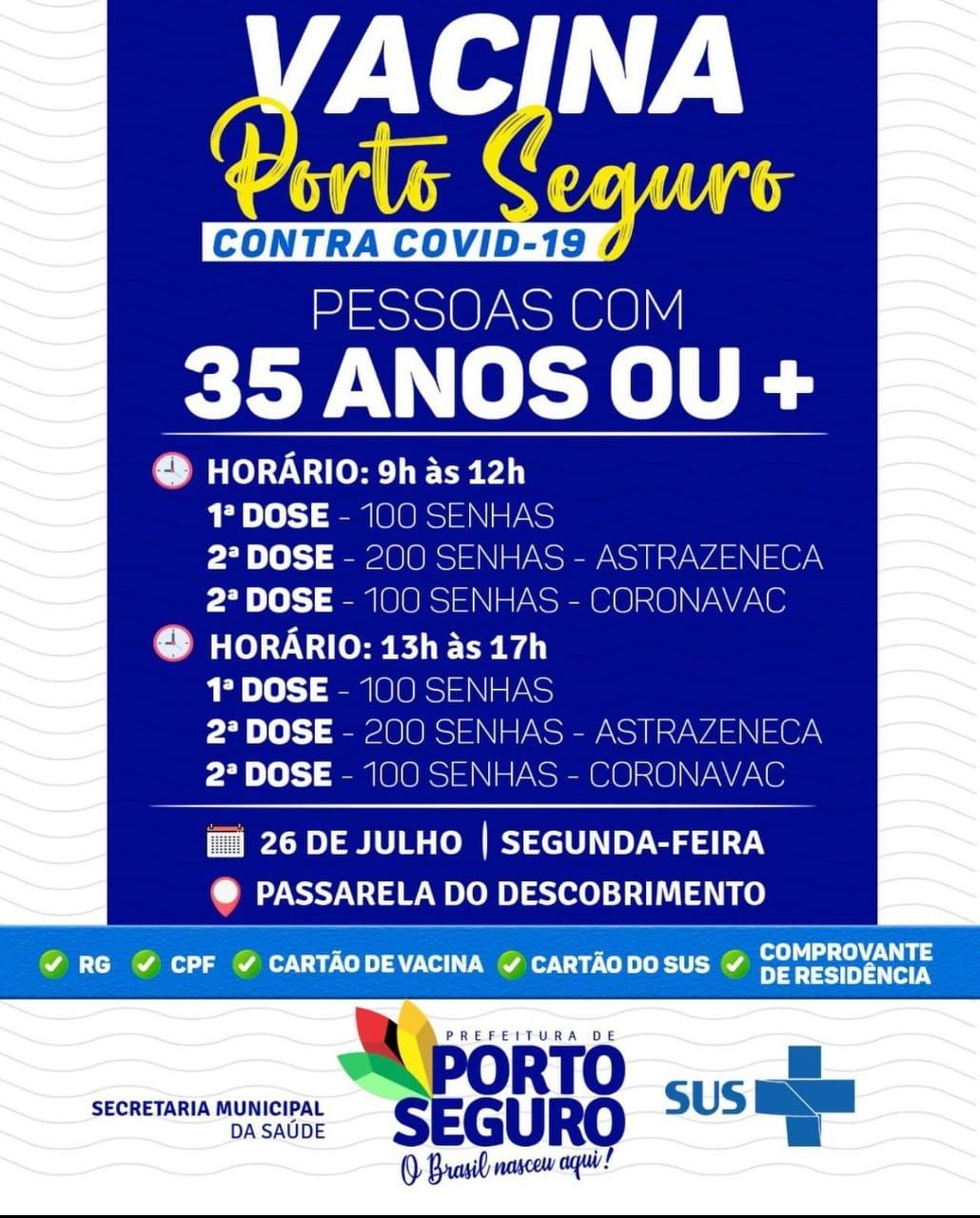 Vacina Porto Seguro contra Covid-19; cronograma de vacinação de 26 a 28 de julho 28