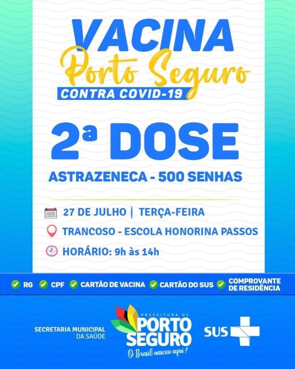 Vacina Porto Seguro contra Covid-19; cronograma de vacinação de 26 a 28 de julho 31